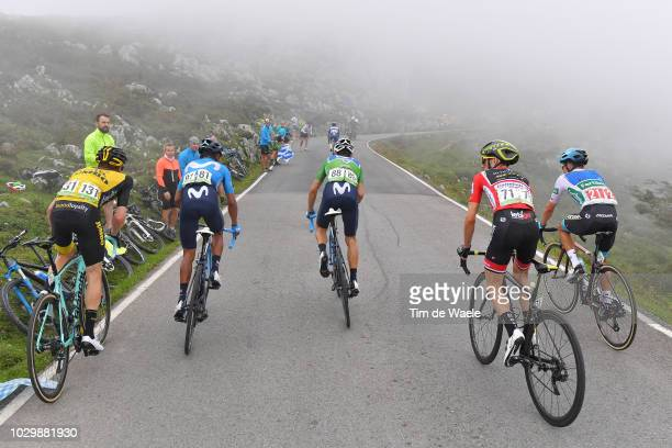 Steven Kruijswijk of The Netherlands and Team LottoNL - Jumbo / Nairo Quintana of Colombia and Movistar Team / Alejandro Valverde of Spain and...