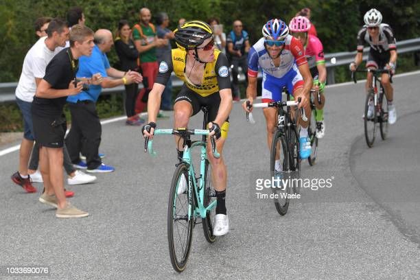 Steven Kruijswijk of The Netherlands and Team LottoNL Jumbo / Thibaut Pinot of France and Team Groupama FDJ / Rigoberto Uran of Colombia and Team EF...