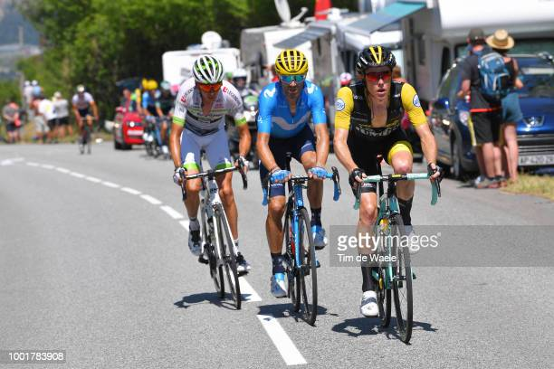 Steven Kruijswijk of The Netherlands and Team LottoNL Jumbo / Warren Barguil of France and Team Fortuneo Samsic / Alejandro Valverde of Spain and...