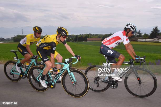 Steven Kruijswijk of The Netherlands and Team LottoNLJumbo / Egan Arley Bernal Gomez of Colombia and Team Sky / Primoz Roglic Yellow Leader Jersey /...
