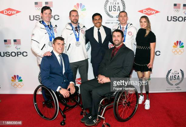 Steven Langton Brody Roybal Curtis Tomasevicz Rico Roman Ben Thompson Christopher Fogt and Oksana Masters attend the 2019 Team USA Awards at...