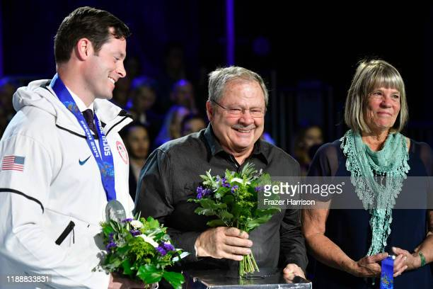 Steven Langton Steve Holcomb and Jean Schaefer speak onstage during the 2019 Team USA Awards at Universal Studios Hollywood on November 19 2019 in...