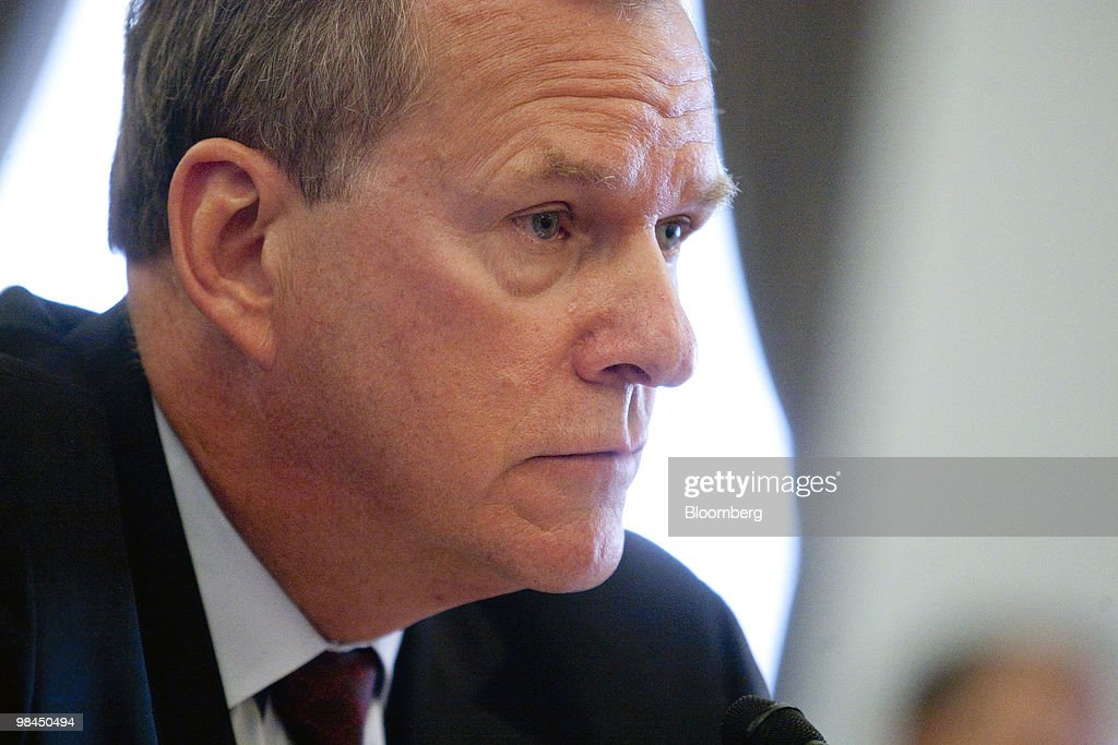 Steven Leer, chairman and chief executive officer of Arch Coal Inc., listens during a hearing on coal energy in Washington, D.C., U.S., on Wednesday, April 14, 2010. A hearing of the House Select Committee on Energy Independence was disrupted today when protestors wearing masks began yelling as Peabody Energy Corp. Chief Executive Officer Gregory Boyce testified on the coal industry. Photographer: Andrew Harrer/Bloomberg via Getty Images