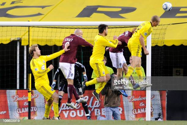 Steven Lenhart of the Columbus Crew jumps up for a header against the Colorado Rapids on November 6 2010 at Crew Stadium in Columbus Ohio