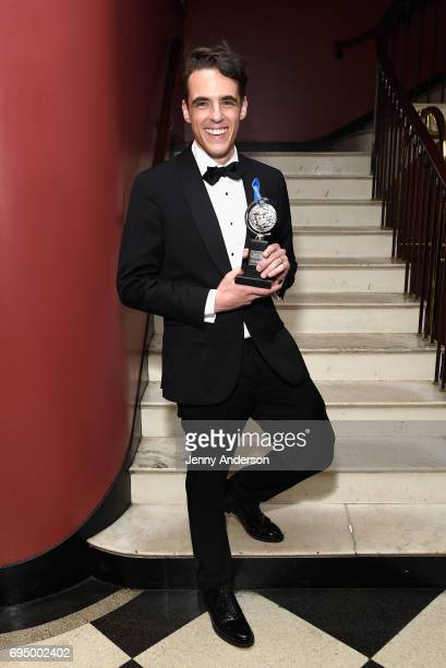 """Steven Levenson, winner of the award for Best Book for a Musical for """"Dear Evan Hanson,"""" in the press room during the 71st Annual Tony Awards at 3..."""