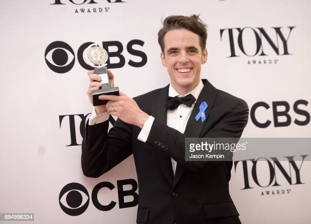 """Steven Levenson, winner of the award for Best Book of a Musical for """"Dear Evan Hansen,"""" poses in the press room during the 2017 Tony Awards at 3 West..."""