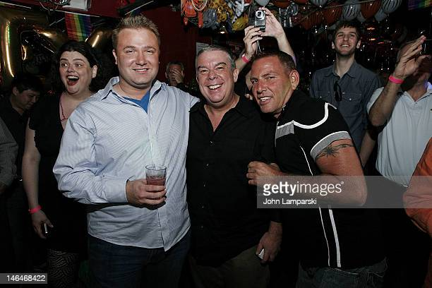Steven Levine Elvis Duran and guest attends Alex Carr's birthday celebration>> at The Stonewall Inn on June 16 2012 in New York City