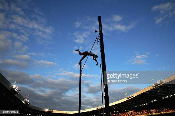 Steven Lewis of England competes in the Men's Pole Vault Final at Hampden Park during day nine of the Glasgow 2014 Commonwealth Games on August 1,...