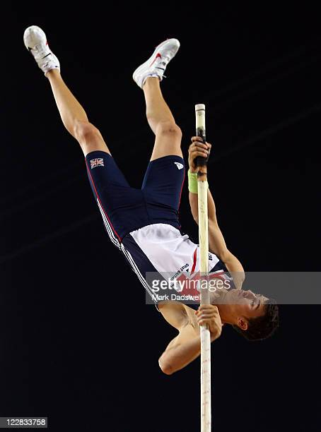 Steven Lewis of Great Britain competes in the men's pole vault final during day three of the 13th IAAF World Athletics Championships at the Daegu...