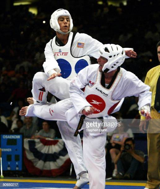 Steven Lopez and Tony Graf compete during the U.S. Olympic Team Trials in Taekwondo on June 5, 2004 at the San Jose State University Event Center in...