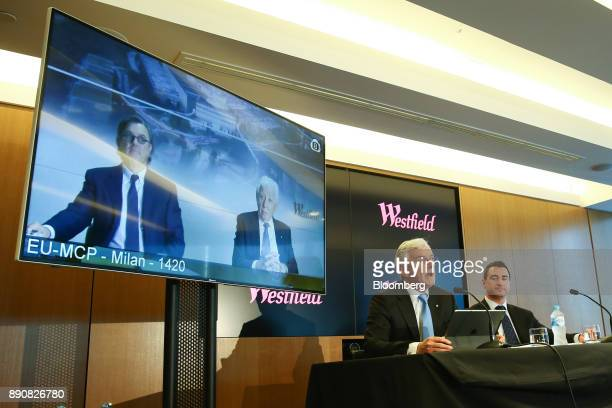 Steven Lowy cochief executive officer of Westfield Corp seated left speaks as Elliott Rusanow chief financial officer looks on while Peter Lowy...