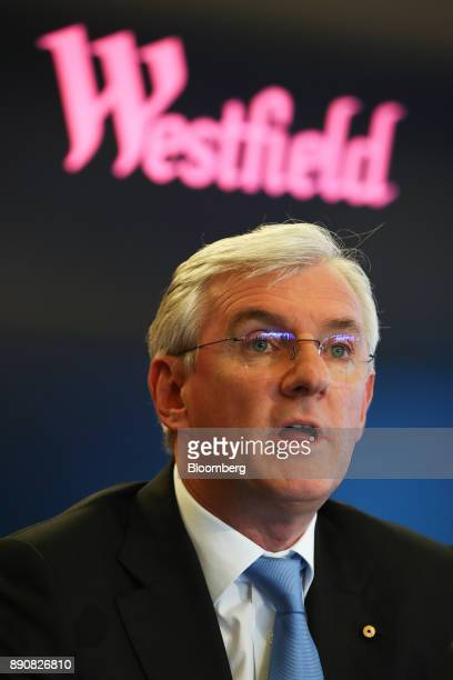 Steven Lowy cochief executive officer of Westfield Corp speaks during a news conference in Sydney Australia on Tuesday Dec 12 2017 UnibailRodamco SE...