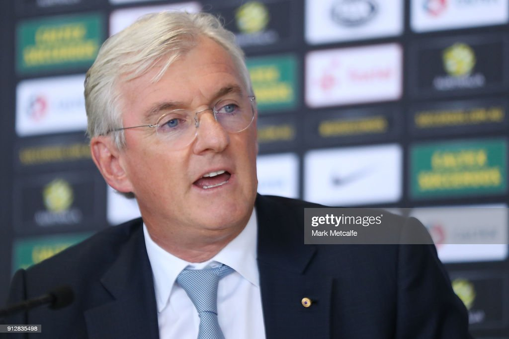 Steven Lowy speaks to media during a press conference at FFA Headquarters on February 1, 2018 in Sydney, Australia.