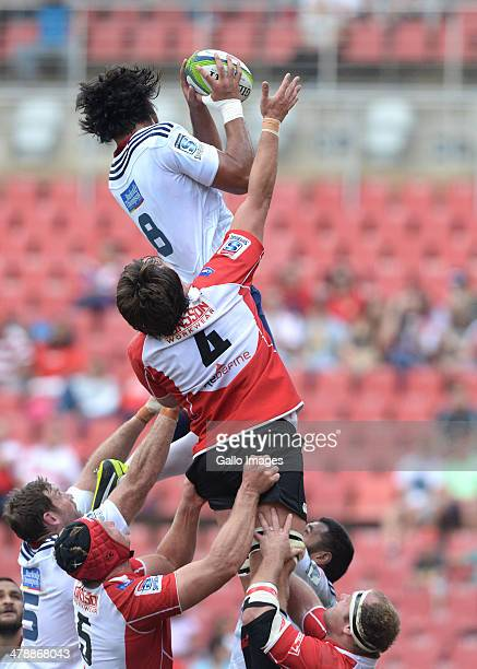 Steven Luatua of Blues wins the linout during the Super Rugby match between Lions and Blues at Ellis Park on March 15 2014 in Johannesburg South...