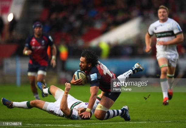 Steven Luatua of Bristol Bears is tackled by Paddy Jackson of London Irish during the Gallagher Premiership Rugby match between Bristol Bears and...