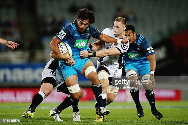 Steven Luatua of the Blues charges forward during the round eight Super Rugby match between the Blues and the Sharks at Eden Park on April 16 2016 in...