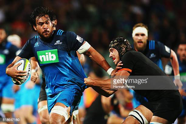 Steven Luatua of the Blues makes a break during the round 6 super rugby match between the Blues and the Jaguares at QBE Stadium on April 2 2016 in...