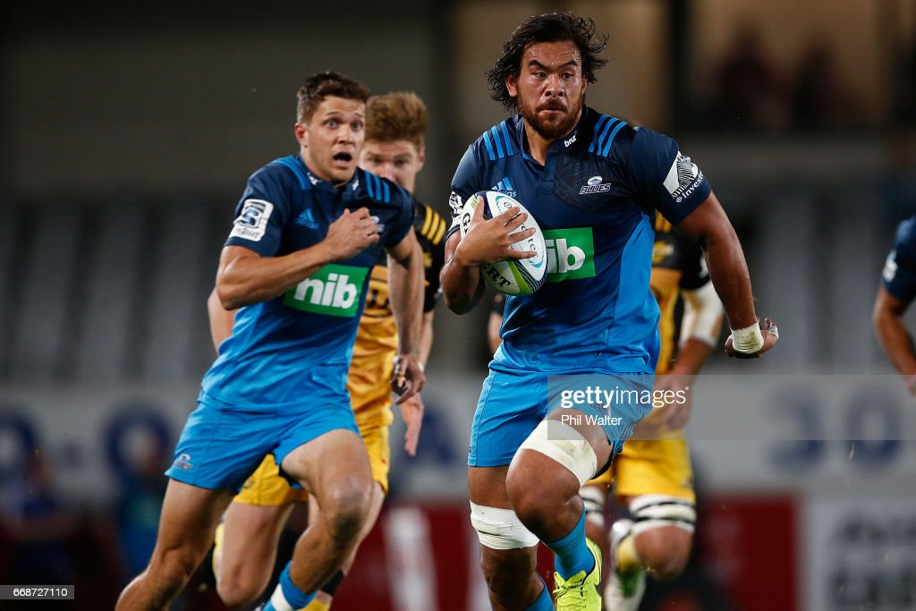 Steven Luatua of the Blues makes a break during the round eight Super Rugby match between the Blues and the Hurricanes at Eden Park on April 15, 2017 in Auckland, New Zealand.