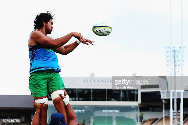 Steven Luatua of the Blues runs through drills on during a Blues super rugby training session at Alexander Park on February 2, 2016 in Auckland, New...