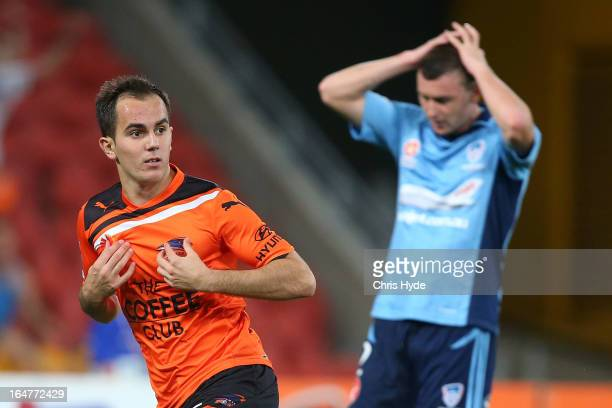 Steven Lustica of the Roar celebrates after scoring a goal during the round 27 ALeague match between the Brisbane Roar and Sydney FC at Suncorp...