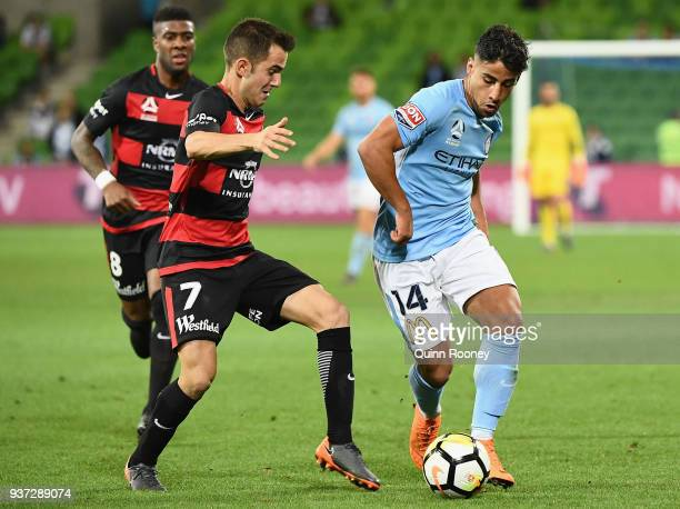 Steven Lustica of the Wanderers and Daniel Arzani of the City compete for the ball during the round 24 ALeague match between Melbourne City and the...
