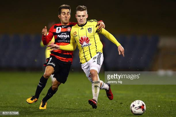 Steven Lustica of the Wanderers challenges for the ball during the FFA Cup round of 32 match between the Western Sydney Wanderers and the Wellington...