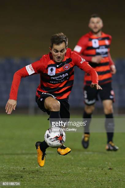 Steven Lustica of the Wanderers controls the ball during the FFA Cup round of 32 match between the Western Sydney Wanderers and the Wellington...