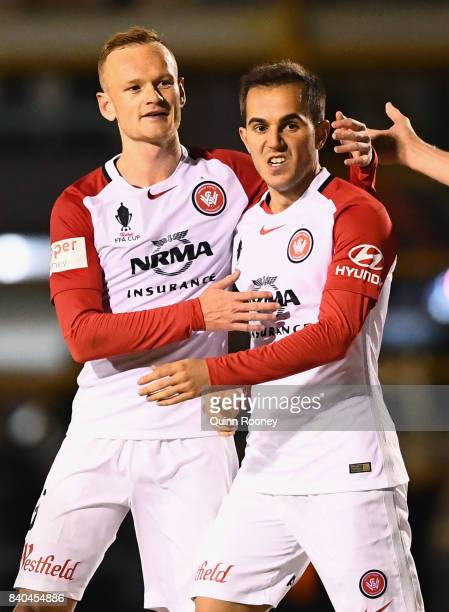 Steven Lustica of the Wanderers is congratulated by Jack Clisby after scoring a goalduring the round of 16 FFA Cup match between Bentleigh Greens and...