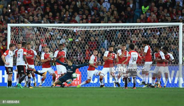 Steven Lustica of the Wanderers scores a goal during the match between the Western Sydney Wanderers and Arsenal FC at ANZ Stadium on July 15 2017 in...