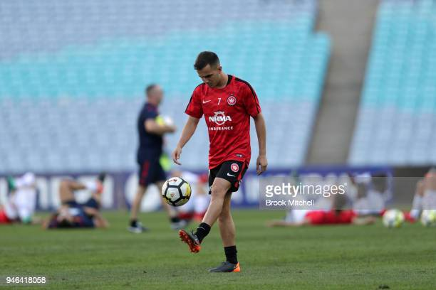Steven Lustica of the Western Sydney Wanderers warms up before the round 27 ALeague match between the Western Sydney Wanderers and Adelaide United at...