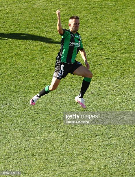 Steven Lustica of Western United celebrates after scoring a goal during the A-League match between Western United and the Perth Glory at GMHBA...