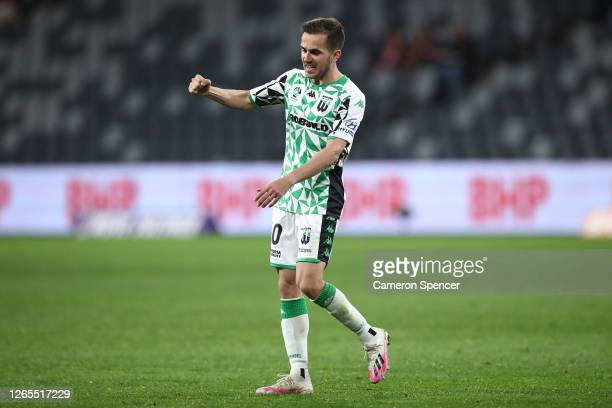 Steven Lustica of Western United celebrates after United defeated the Glory during the round 24 A-League match between the Perth Glory and Western...