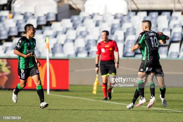Steven Lustica of Western United FC celebrates with his team mates after his goal during match week 5 of the 2021 A-League season between Western...
