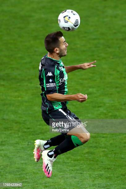 Steven Lustica of Western United heads the ball during the A-League match between Western United FC and Adelaide United at GMHBA Stadium, on December...