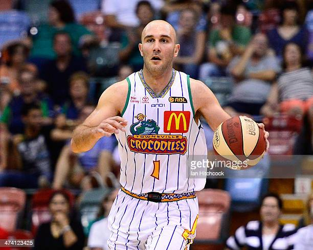 Steven Markovic of the Crocodiles dribbles the ball during the round 19 NBL match between the Townsville Crocodiles and the Sydney Kings at...
