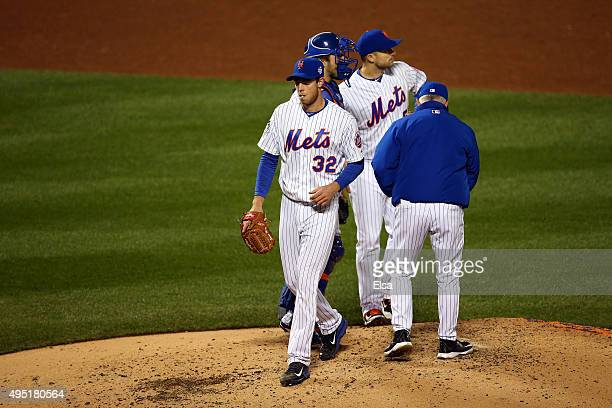 Steven Matz of the New York Mets comes out of the game in the sixth inning against the Kansas City Royals during Game Four of the 2015 World Series...