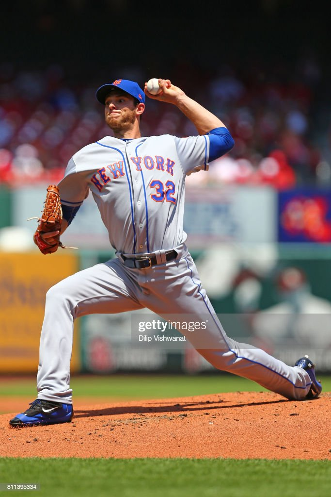 Steven Matz #32 of the New York Mets delivers a pitch against the St. Louis Cardinals in the first inning at Busch Stadium on July 9, 2017 in St. Louis, Missouri.