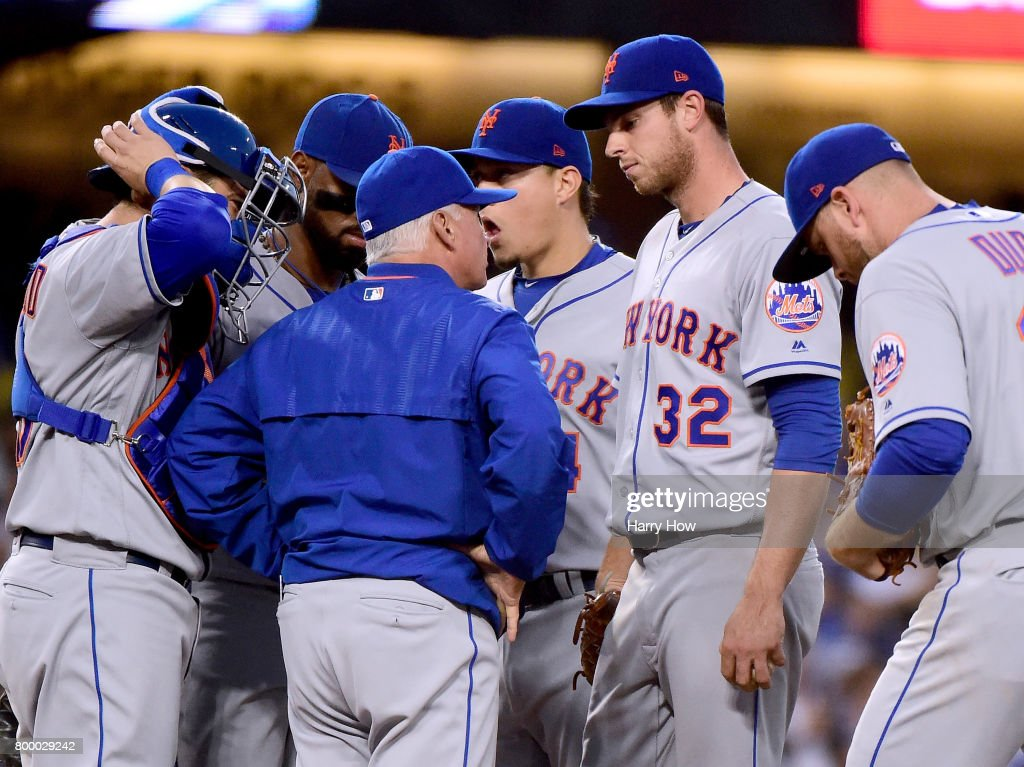 Steven Matz #32 of the New York Mets listens to Terry Collins on the mound after the second homerun of the inning from Enrique Hernandez #14 of the Los Angeles Dodgers to trail 3-1 during the third inning at Dodger Stadium on June 22, 2017 in Los Angeles, California.