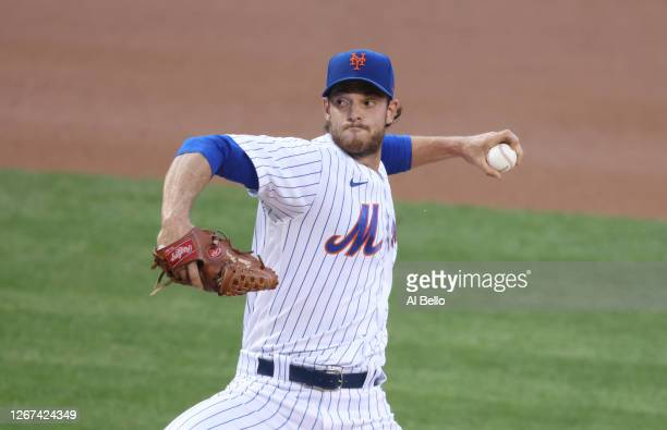Steven Matz of the New York Mets pitches against the Washington Nationals during their game at Citi Field on August 10, 2020 in New York City.