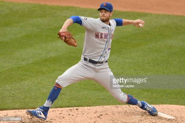 Steven Matz of the New York Mets pitches during a baseball game against the Washington Nationals at Nationals Park on September 27, 2020 in...