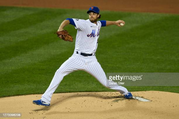 Steven Matz of the New York Mets pitches during the first inning against the Atlanta Braves at Citi Field on September 18, 2020 in the Queens borough...