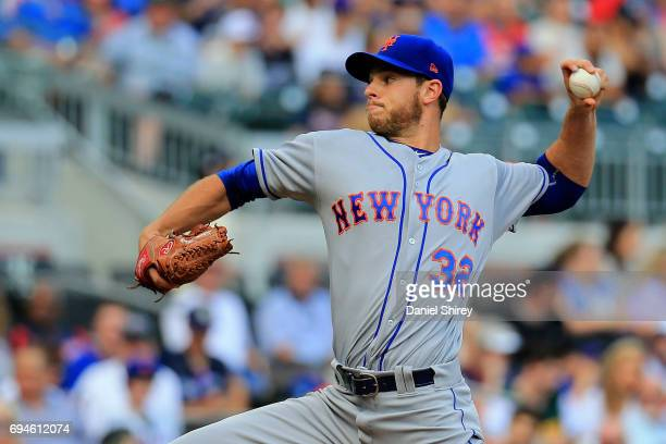 Steven Matz of the New York Mets pitches during the first inning against the Atlanta Braves at SunTrust Park on June 10 2017 in Atlanta Georgia