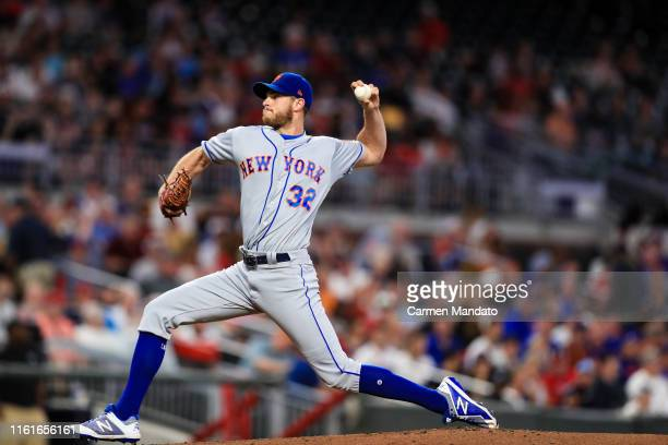 Steven Matz of the New York Mets pitches in the first inning during the game against the Atlanta Braves at SunTrust Park on August 14, 2019 in...