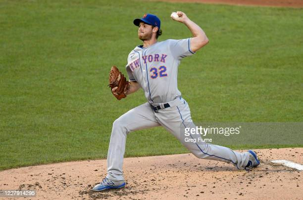 Steven Matz of the New York Mets pitches in the second inning against the Washington Nationals at Nationals Park on August 4, 2020 in Washington, DC.