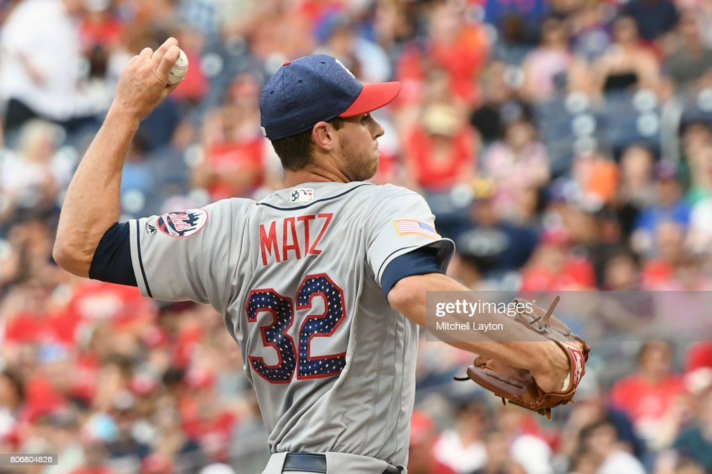 Steven Matz #32 of the New York Mets pitches in the second inning during a baseball game against the Washington Nationals at Nationals Park on July 3, 2017 in Washington, DC.