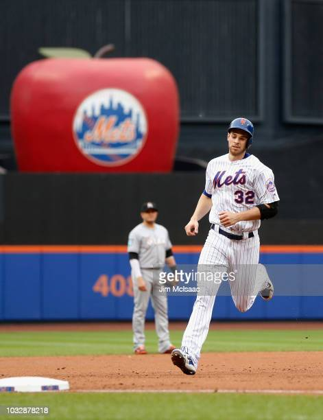 Steven Matz of the New York Mets runs the bases after his second inning two run home run against the Miami Marlins at Citi Field on September 13,...