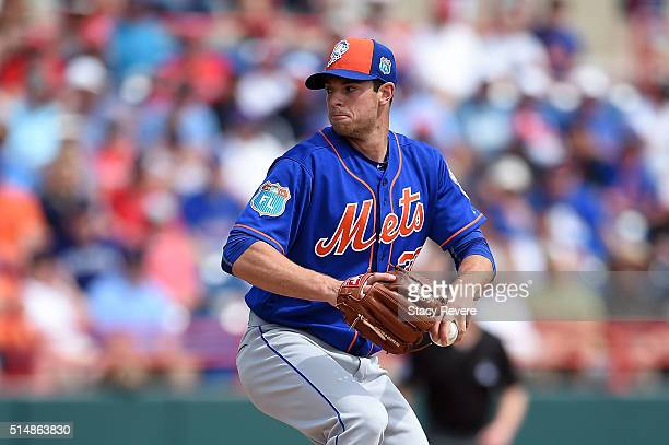 Steven Matz of the New York Mets throws a pitch during the second inning of a spring training game against the Washington Nationals at Space Coast...