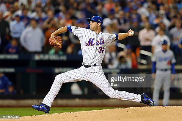 Steven Matz of the New York Mets throws a pitch in the first inning against the Los Angeles Dodgers during game four of the National League Division...