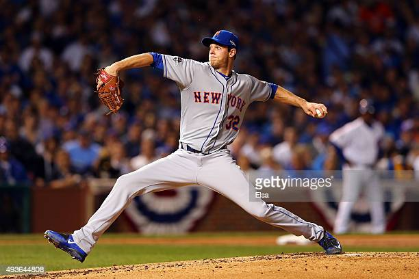 Steven Matz of the New York Mets throws a pitch in the first inning against the Chicago Cubs during game four of the 2015 MLB National League...