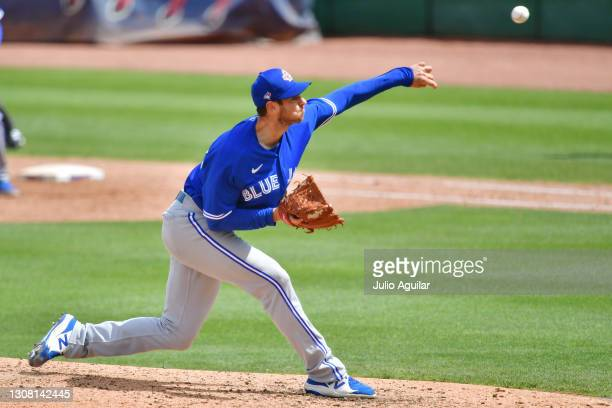 Steven Matz of the Toronto Blue Jays delivers a pitch in the fifth inning against the Philadelphia Phillies during a spring training game on March...